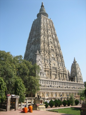 stone Mahabodhi temple in Bodh Gaya, India, where Gautama Buddha attained Nirvana under the Bodhi Tree